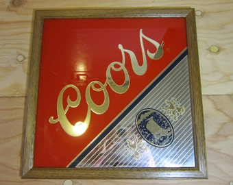 Vintage 1990 Coors Beer Mirror Sign With Wooden Frame