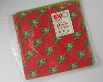 "9 Sheets of Vintage Christmas Wrapping Paper 20"" x 30"" Santa Holly Ornaments"