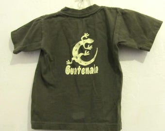 A Baby Boy's Vintage 80's Olive,Short Sleeve GUATEMALA T shirt By ROBIS.2T-3T