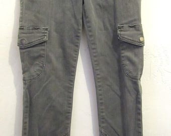 Vintage Faded Gray SKINNY Stretch CARGO Jeans By 21 DENIM.3