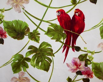 Gorgeous Red Parrot Curtain Fabric, Vintage French Curtain Fabric.