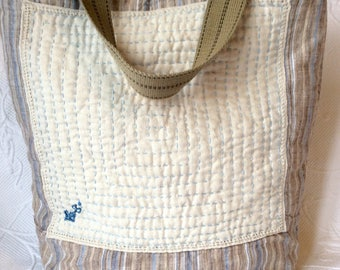 Quilted Tote, Quilted Sashiko Natural Linen Tote, Linen Hand Quilted bag, Striped Tote bag, Linen Market bag