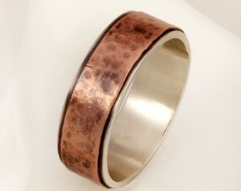 Bark Copper Ring, Wedding Band, Oxidized Silver 6 / 8 / 10 mm ring, unique Engagement Ring, Sterling Silver Copper Ring, Men's Gift, RS-1159