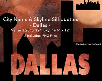 Digital Dallas City Name and Skyline Silhouettes-PNGs-DeeDoosDigital-INSTANT DOWNLOAD
