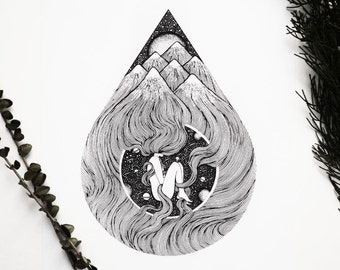 Ocean of Emptiness, A4 Vertical size Print, printed on white 250g/m paper. Woman, Mountains, Space. Designed by Menisart