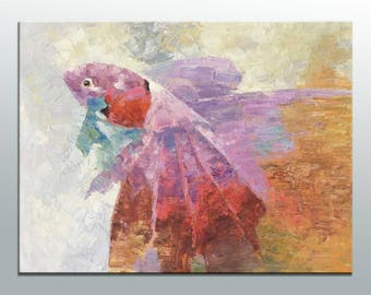 Abstract Canvas Painting, Large Wall Art, Large Abstract Art, Original Abstract Art, Abstract Oil Painting, Contemporary Painting, Fish Art