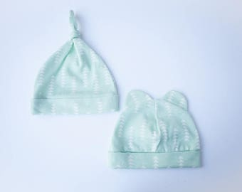 Baby Beanie Mint & White Arrows - Knotted Beanie - Bear Beanie - 0-3 MONTHS