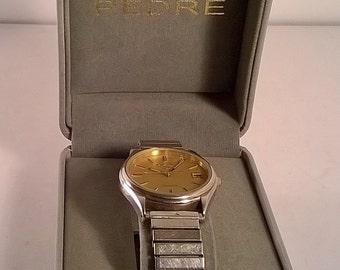 Vintage Stainless Steel Pedre Pulsar Quartz Men's Wrist Watch in Case