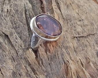 Pear Cut Purple Amethyst Gemstone  925 silver Ring Size 8