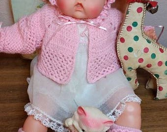 Hand Knitted Pink Sweater Set Vintage Tiny Thumbelina
