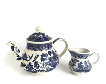 Churchill Blue Willow Teapot and Creamer Made in England