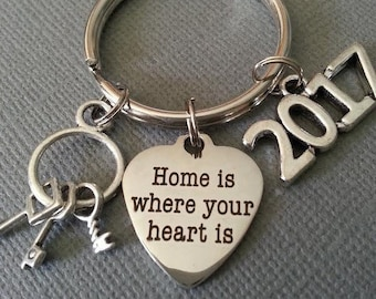 Housewarming Gift Keychain / Home is Where Your Heart Is Keychain / New Home / Real Estate / Realtor / New House / Home Buyer