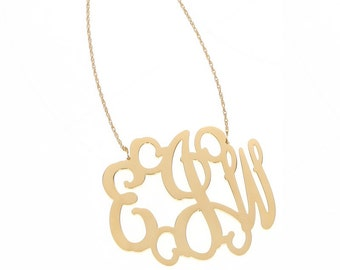 XL Gold Plated Monogram Filigree Necklace - Interlocking Collection