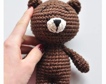 Cute bear, brown bear, baby toy, crochet teddy bear, baby gift, Amigurumi Cutie Bear, Crochet Animal Plush, Children's Toy, newborn props