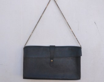 vintage leather clutch bag, hand bag, evening bag, cow leather. chain, retro, 50s, 60s, 70s