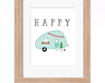 happy camper print A4