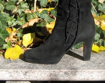 Black suede ankle boots size 40 with side lace up decoration