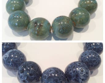 5-UPICK-speckled Aqua or Denim beads,speckled unique Porcelain beads, Blue round 22mm Ceramic  Beads,P27, Ships USA