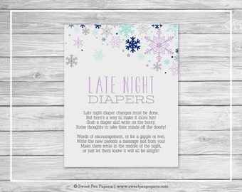 Winter Baby Shower Late Night Diapers Sign - Printable Baby Shower Late Night Diapers - Baby It's Cold Outside Baby Shower - SP143