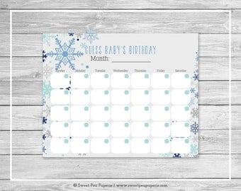 Winter Baby Shower Guess Baby's Birthday - Printable Baby Shower Guess Baby's Birthday - Baby It's Cold Outside Baby Shower - SP144