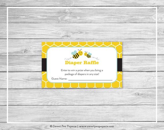 Bumble Bee Baby Shower Diaper Raffle Insert