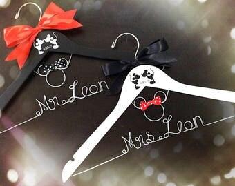 Mr. And Mrs. Disney wedding hanger, Mickey Mouse Hanger,Disney Bride hanger, Bridesmaid Hangers,Custom Hanger,Mrs Hanger,Shower Gift