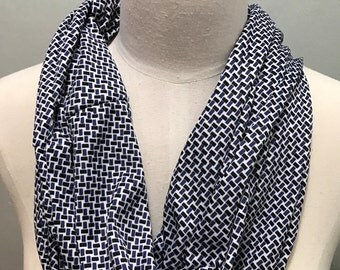 Navy and white patterned dressy infinity scarf
