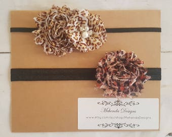 Baby girl headbands. floral shabby flower headband.Newborn headband. Leopard print headband