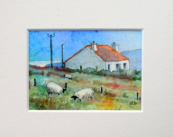 Hillside cottage, Isle of Harris.Original watercolour mounted ACEO
