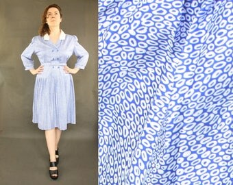 1980s knee length dress / amazing dress 80's VINTAGE / Novelty Print / medium / 80s Dress / Party Dress / New Look