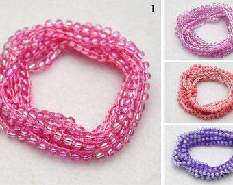 Pink bracelet Summer Jewelry Beach jewelry Crochet Wrap bracelet Seed Bead bracelet Beaded bracelet girlfriend gift for women sister gift