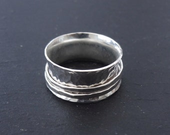 Sterling Silver hammered texture spinner ring, silver ring, fiddle ring, spinning ring, worry ring, size Q 1/2