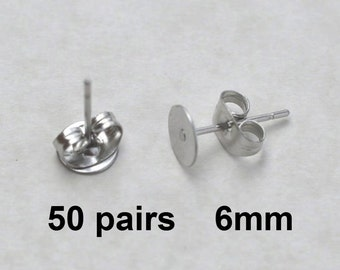 50 Pairs 6mm Surgical Steel flat pad EFP-6P-50 earring posts and butterfly backs-50 pairs surgical steel hypoallergenic earring post