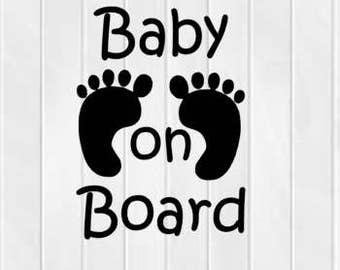 Baby on board svg-dxf file-eps file-jpg file- Cut file-silhouette design.