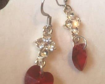 Valentine's Day swarovski crystal red heart earrings, red heart earrings, crystal heart earrings, valentine's day earrings, red heart charms