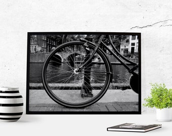 Bicycle Photography Download Amsterdam Bicycle Art Poster Art Black & White Home Decor Photograph Art Printable Office Art Wall Art Canals