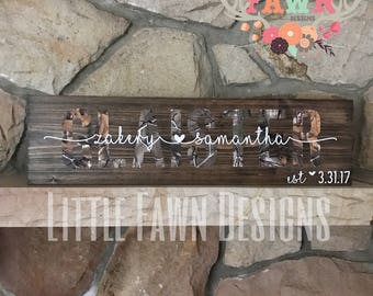Camo Personalized Wood Sign - Wedding Gift - Anniversary Gift - Birthday Gift - Camouflage - Hunting - Home Decor - Rusti Decor