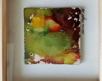 Hand painted on ceramic tile .original.once off.