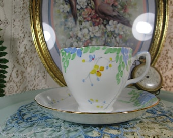 Teacup & Saucer Duo, Grafton China, Made in England Hand Painted Porcelain #6360, Scalloped Gold Trim