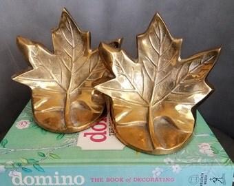 Beautiful brass maple leaf bookends