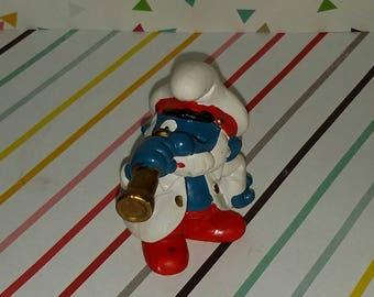 Vintage 1980s Peyo Papa Smurf as Sea Captain PVC Figure