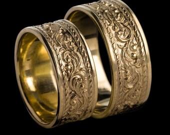 Yellow Gold Wedding Band, Traditional Motif Gold Wedding Band, 14K Yellow Gold Wedding Band Sets, Clleo, Zehava Jewelry