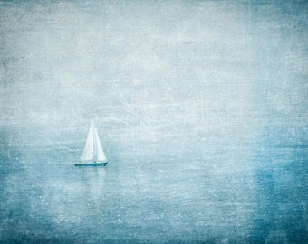 Canvas Wall Art, Sailboat Wall Art, Ocean Wall Decor, Sailboat Print, Ocean Room Decor, Sailboat Wall Decor, Home Decor, Teal Blue