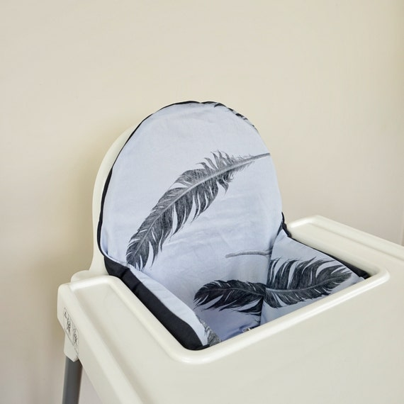 grey feathers ikea antilop high chair cushion cover. Black Bedroom Furniture Sets. Home Design Ideas