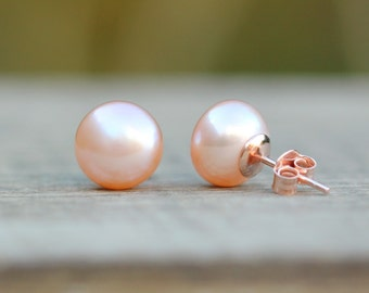 Real Pearl Earrings, Rose Gold Vermeil Rose Peach Pink Pearl Stud Earrings, Rose Gold Earrings, Freshwater Pearl Studs, Bridesmaids Gift