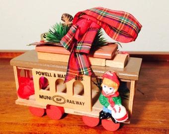 San Francisco 38 Wood Cable Car Trolley, Powell and Mason, Wooden Ornament, Christmas SF Muni Souvenir