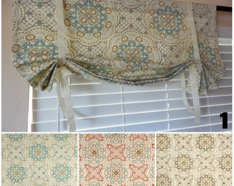 Window Curtains TIE UP Valance Roll Up Shade Medallion Valance Kitchen  Valance Door Shade Your Custom