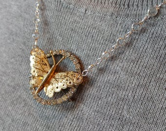 Vintage gold butterfly, rhinestone brooch, pendant necklace, crystal chain, OOAK, upcycle, repurposed, assemblage, custom length