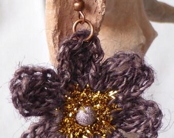 jute thread, Caterpillar and Pearl Earrings