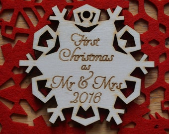 Mr & Mrs 1st Christmas Wooden Bauble, First Christmas, Personalised wooden bauble, Mr Mrs  first Christmas